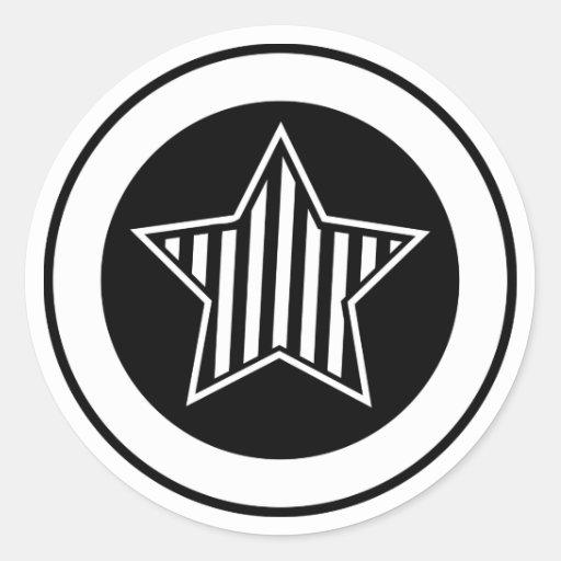 Pegatina blanco y negro de la estrella