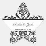 Pegatina blanco y negro de la estrella del boda