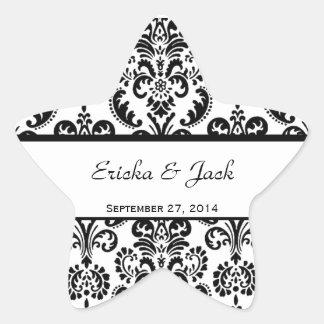 Pegatina blanco y negro de la estrella del boda de