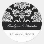 Pegatina blanco y negro del boda del damasco