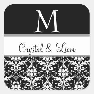Pegatina blanco y negro del monograma del boda del
