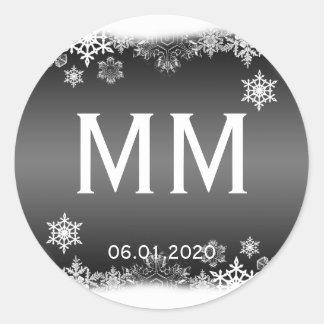 Pegatina blanco y negro del monograma del copo de