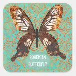 Pegatina bohemio del damasco de la mariposa