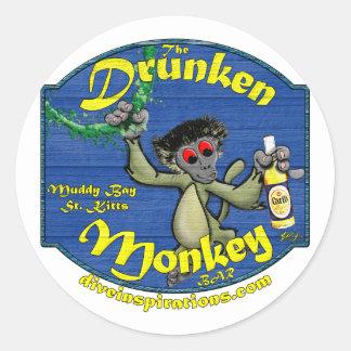 Pegatina borracho de la barra de mono