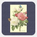 Pegatina botánico de los rosas del vintage rosado