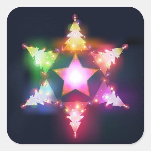 Pegatina brillante de los árboles de navidad