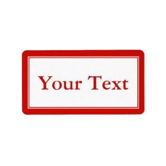 Pegatina brillante o etiqueta rojo y blanco con el etiquetas de dirección