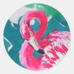 Pegatina caliente del rosa del flamenco