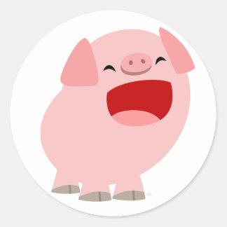 Pegatina cantante del cerdo del dibujo animado lin