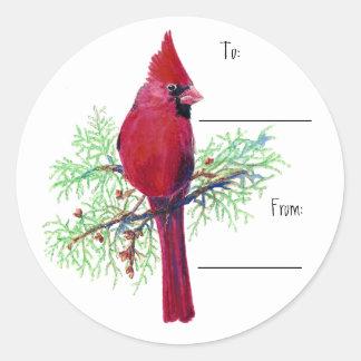 Pegatina cardinal de la etiqueta del regalo del