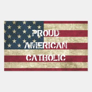 Pegatina católico americano orgulloso