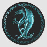 Pegatina céltico azul del dragón