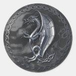 Pegatina céltico de plata del dragón