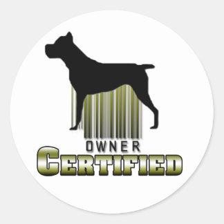Pegatina certificado del dueño