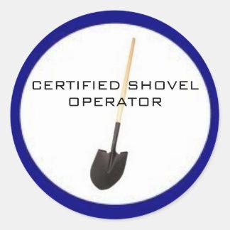 Pegatina certificado del operador de la pala