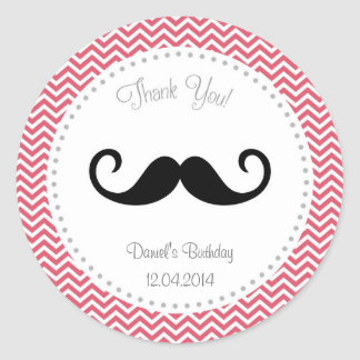 Pegatina Chevron del cumpleaños del bigote