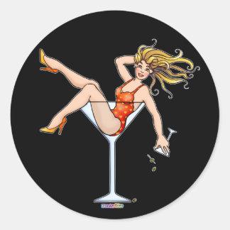 Pegatina - chica en un vidrio de Martini Olivia