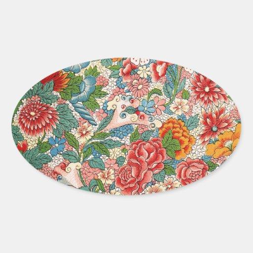 Pegatina chino floral del óvalo del ornamento