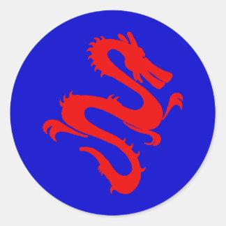 Pegatina chino rojo del dragón