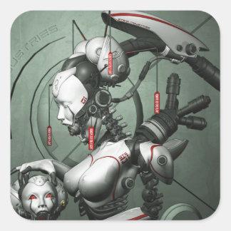 Pegatina cibernético del geisha
