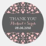 Pegatina clásico rosado gris del boda del