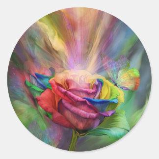 Pegatina color de rosa curativo del arte
