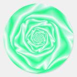 Pegatina color de rosa espiral verde y blanco