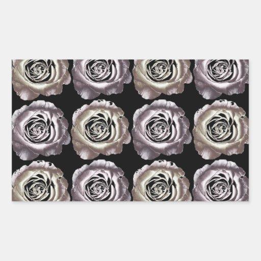 Pegatina color de rosa metálico de plata