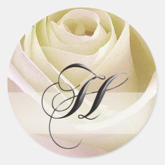 Pegatina color de rosa nupcial blanco… H inicial