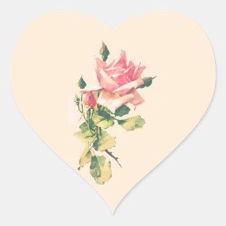 Pegatina color de rosa romántico de la pintura de