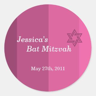 Pegatina color de rosa tonal de Mitzvah del palo