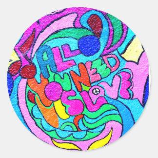 pegatina colorido del amor de la paz del hippie