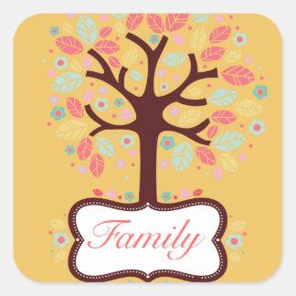 Pegatina colorido del árbol de familia
