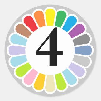 pegatina colorido del número 4