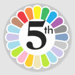 pegatina colorido del número 5