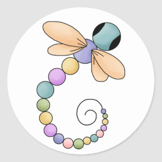 Pegatina colorido lindo de la libélula