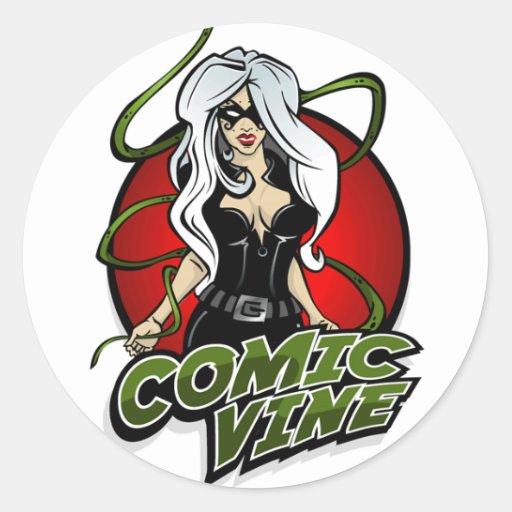 Pegatina cómico del rojo del logotipo de la vid
