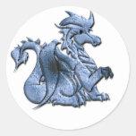 Pegatina con alas azul del dragón