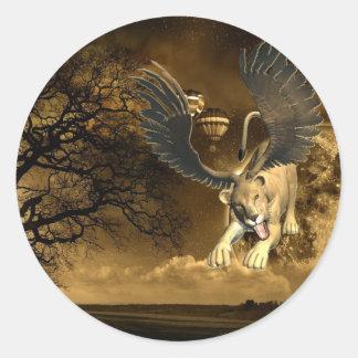 Pegatina con alas de la leona