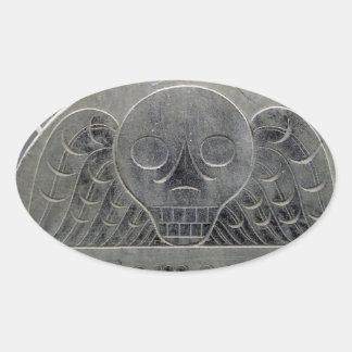 pegatina con alas de la piedra del cementerio de