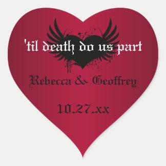 Pegatina con alas rojo y negro gótico del boda del