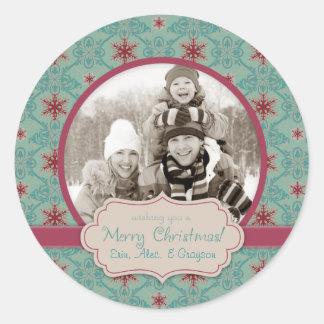 Pegatina con clase 2 de la foto del navidad
