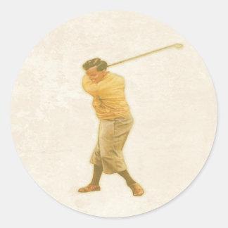 Pegatina con el jugador de golf del vintage