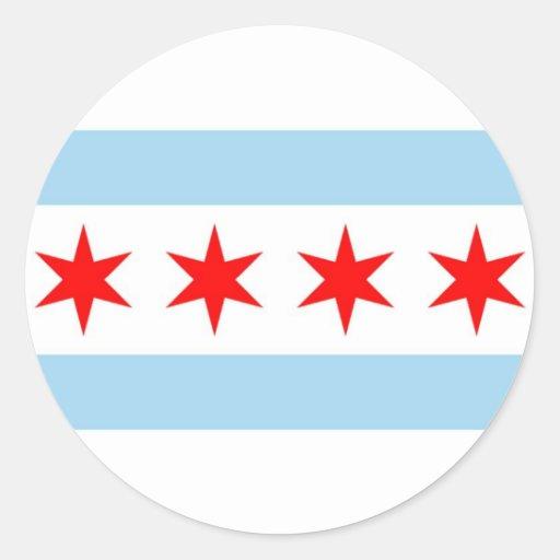 Pegatina con la bandera de Chicago, Illinois