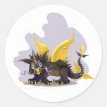 Pegatina con la imagen negra divertida del dragón