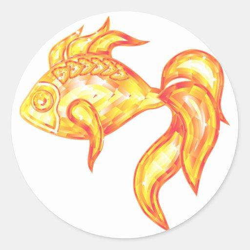 Pegatina con los pescados de oro cristalinos