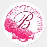 Pegatina con monograma color de rosa de Shell del