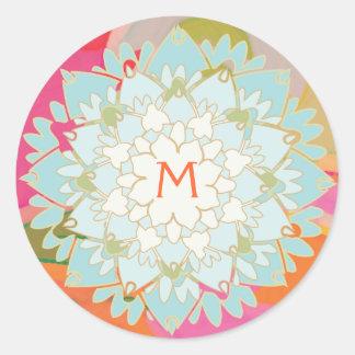 Pegatina con monograma de la flor de Lotus