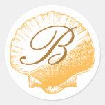 Pegatina con monograma de Shell del mar de la