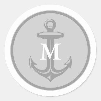 Pegatina con monograma del ancla gris